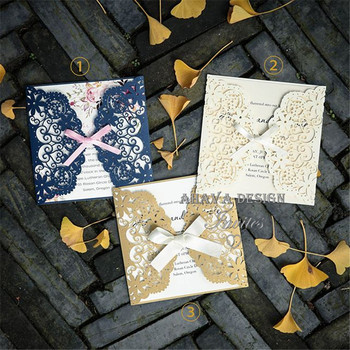 Elegant Gold And Ivory Laser Cut Wedding Invites With Ribbons