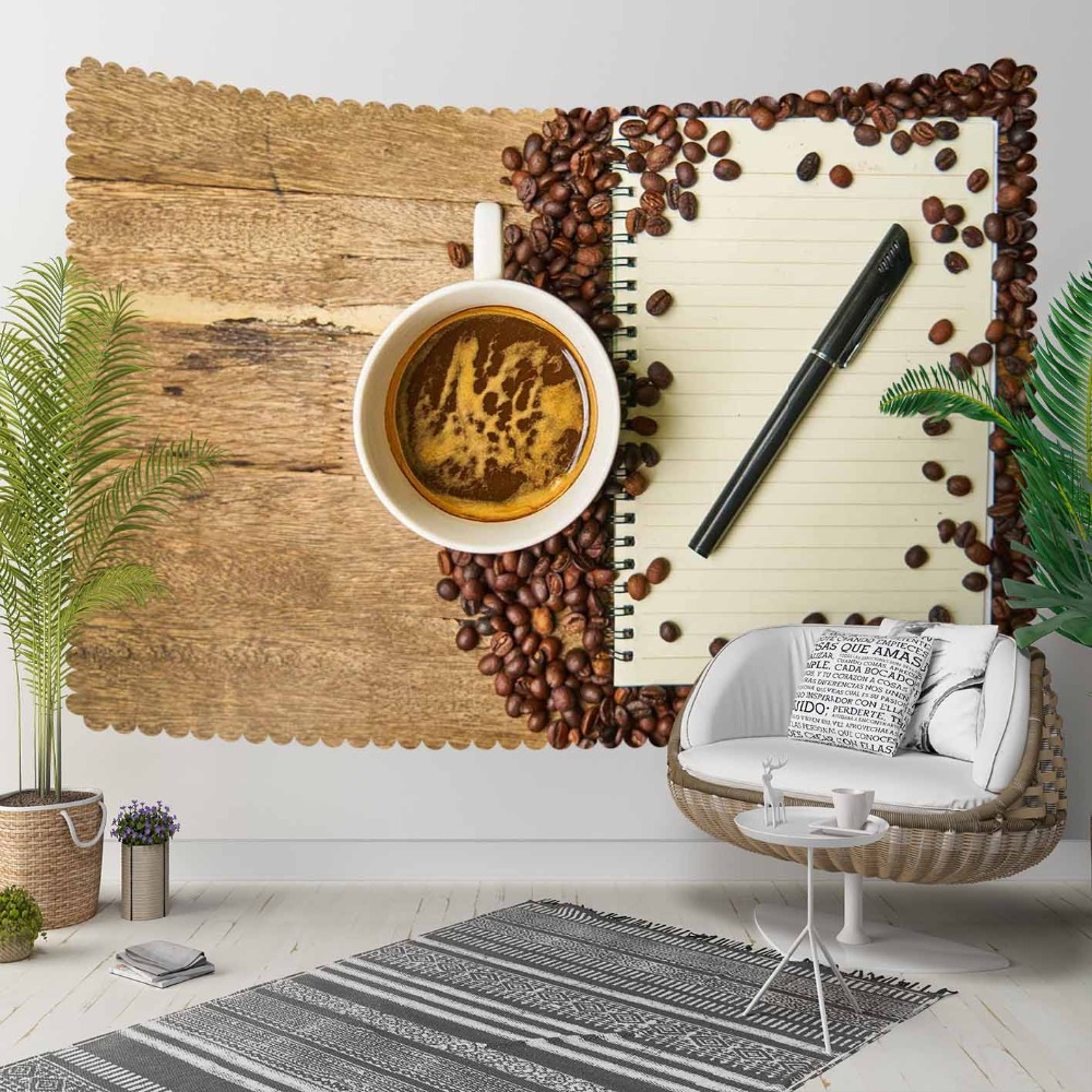 Else Brown Wood Cup Of Coffee Beans Notebook Pencil 3D Print Decorative Hippi Bohemian Wall Hanging Landscape Tapestry Wall Art