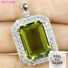 Guaranteed Real 925 Solid Sterling Silver 8.0g Deluxe Top 18x13mm Green Peridot Ladies Necklace Pendant 32x20mm