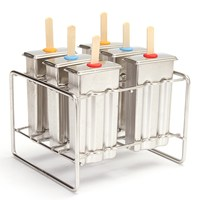 Summer Stainless Steel Popsicle Mold Ice Cream Stick Holder 6 Molds Silver Home Shop DIY Ice Cream Maker Ice Pops Mould