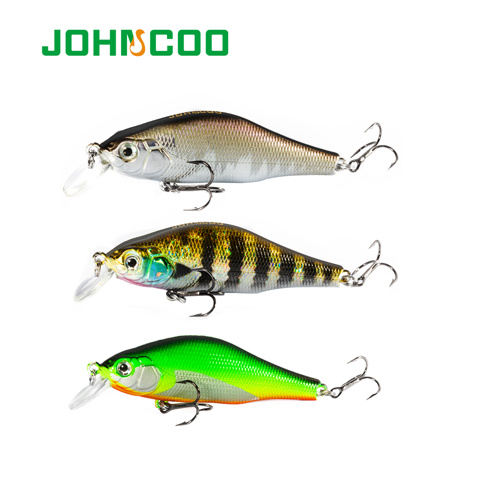 JOHNCOO Khamsin Hard Bait Minnow 70mm/9.5g With Magnetic System Fishing Lure Bass With VMC Hook Perch Wobbler Fish Lure Fishing