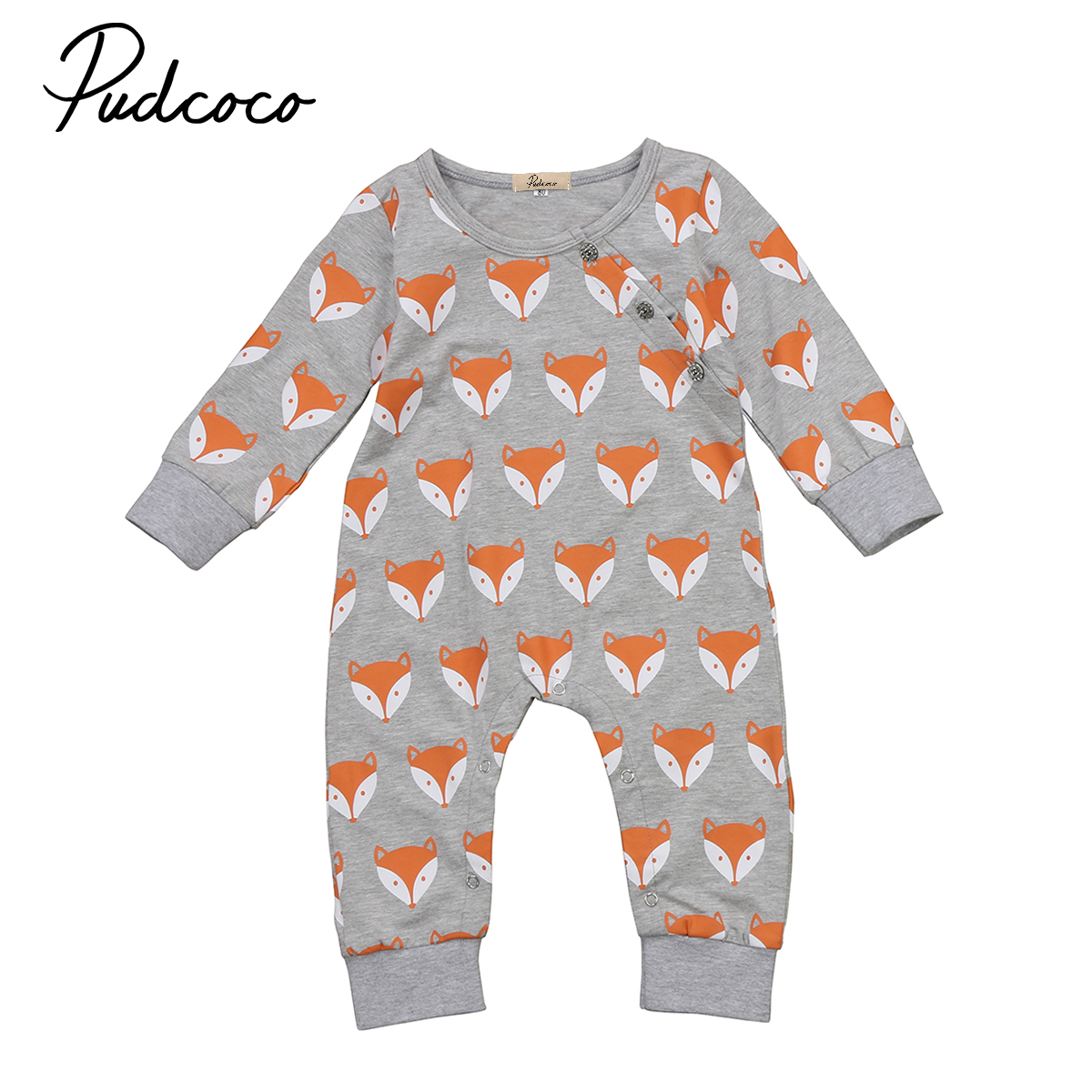 Baby Clothing Infant Baby Girl Boys Cute Fox Print Long sleeve Romper Playsuit Unisex Baby Cotton Clothes Outfit 0-2T