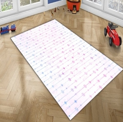 Else Blue Pink Lines Stars Modern Geometric  3d Print Non Slip Microfiber Children Kids Room Decorative Area Rug Mat