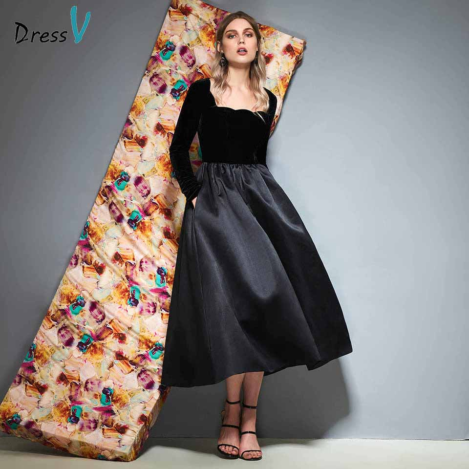 Dressv black long sleeves   cocktail     dress   a line tea length zipper up wedding party evening formal   dress     cocktail     dresses