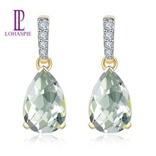 LP Natural Gemstone Green Amethyst 2.68ct Real 14KY Gold Engagement Drop Diamond Earrings  Fine Jewelry For Women's Girls Gift leige jewelry natural green amethyst ring cushion cut engagement promise rings for women green gemstone fine jewelry
