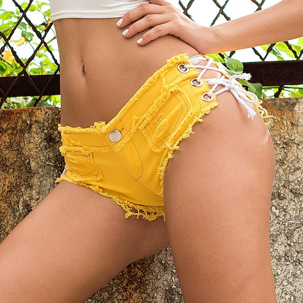 Women Sexy Bandage Button Cut Off Low Waist Super Mini Denim Jeans  Hot mesh biker shorts  Ripped Denim candy color Short