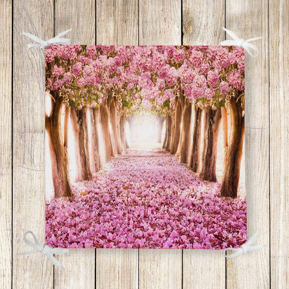 Else Pink Roses Tree Love Way Road 3d Print Square Chair Pad Seat Cushion Soft Memory Foam Full Lenght Ties Non Slip Washable
