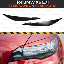 Eyebrows on headlights case for BMW X6 E71 2008 2014 ABS plastic cilia eyelash molding decoration car styling tuning accessories