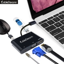 USB C hub usb3.1 Type C to HDMI VGA adapter cable converter for Macbook pro2017 2016  dell xps ChromeBook acer asus все цены