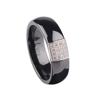 6mm Fashion S925 Sterling Silver Dome Ring Polished with Embedded White Gold Electroplated