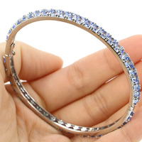 Deluxe Top AAA 12.9g Drop Rich Blue Violet Tanzanite Silver Bangle Bracelet Length 7.5inch 3x3mm
