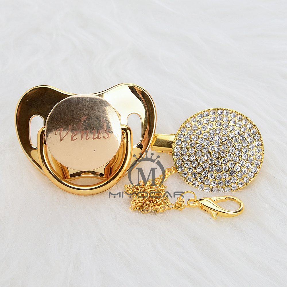Image 3 - MIYOCAR Personalized any name can make all gold bling pacifier and pacifier clip BPA free dummy bling unique design PBPacifier   -