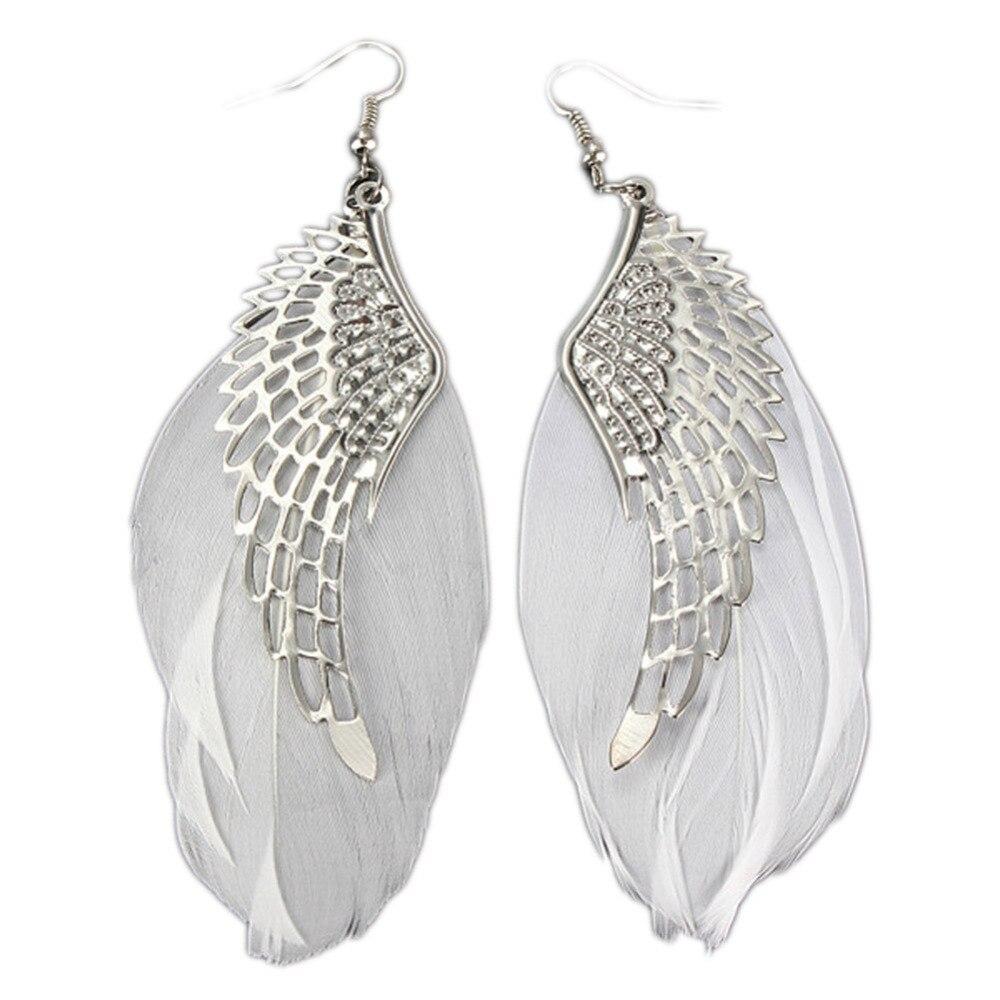 1 Para Frauen Retro Engel Flügel Flügel Geformte Legierung Mädchen Ohr Studs Weiße Feder Haken Ohrring Charming Schmuck