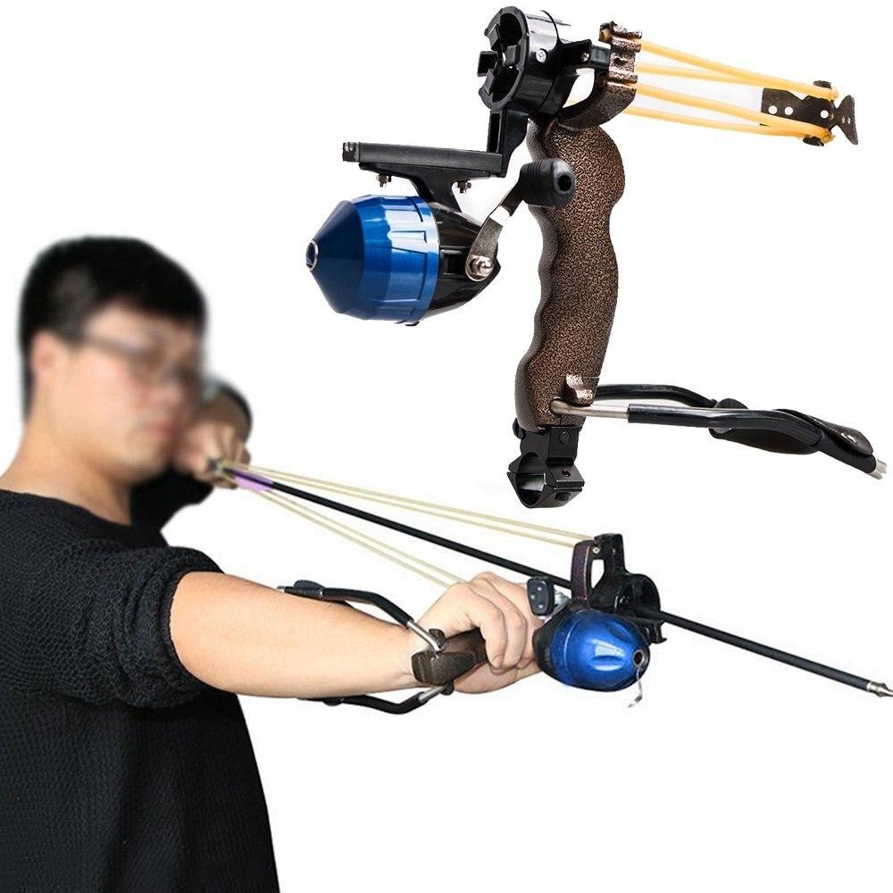 Adultos potente objetivo Tiro Slingshot con plegable muñeca catapult profesional Hunter Caza Pesca Sling shot