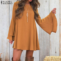 ZANZEA 2017 Women Crew Neck Bell Sleeve Sexy Back V Strappy Ruffles Party Club Vestidos New