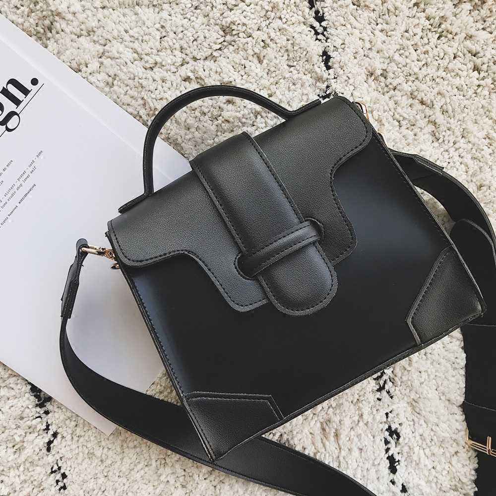 Бренд 2019, простая повседневная сумка-тоут из искусственной кожи в стиле пэчворк, дизайнерские женские сумки-мессенджеры, винтажная широкая сумка на ремне