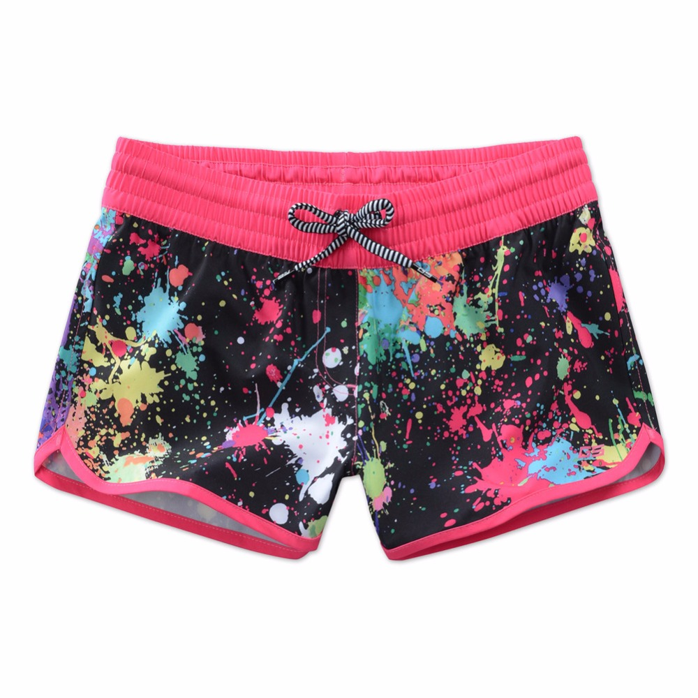 GSOU SNOW Women Surf Beach Board Shorts Swimwear Bikini Female Colorful Printed Sports Shorts Swimming Diving Surfing Briefs