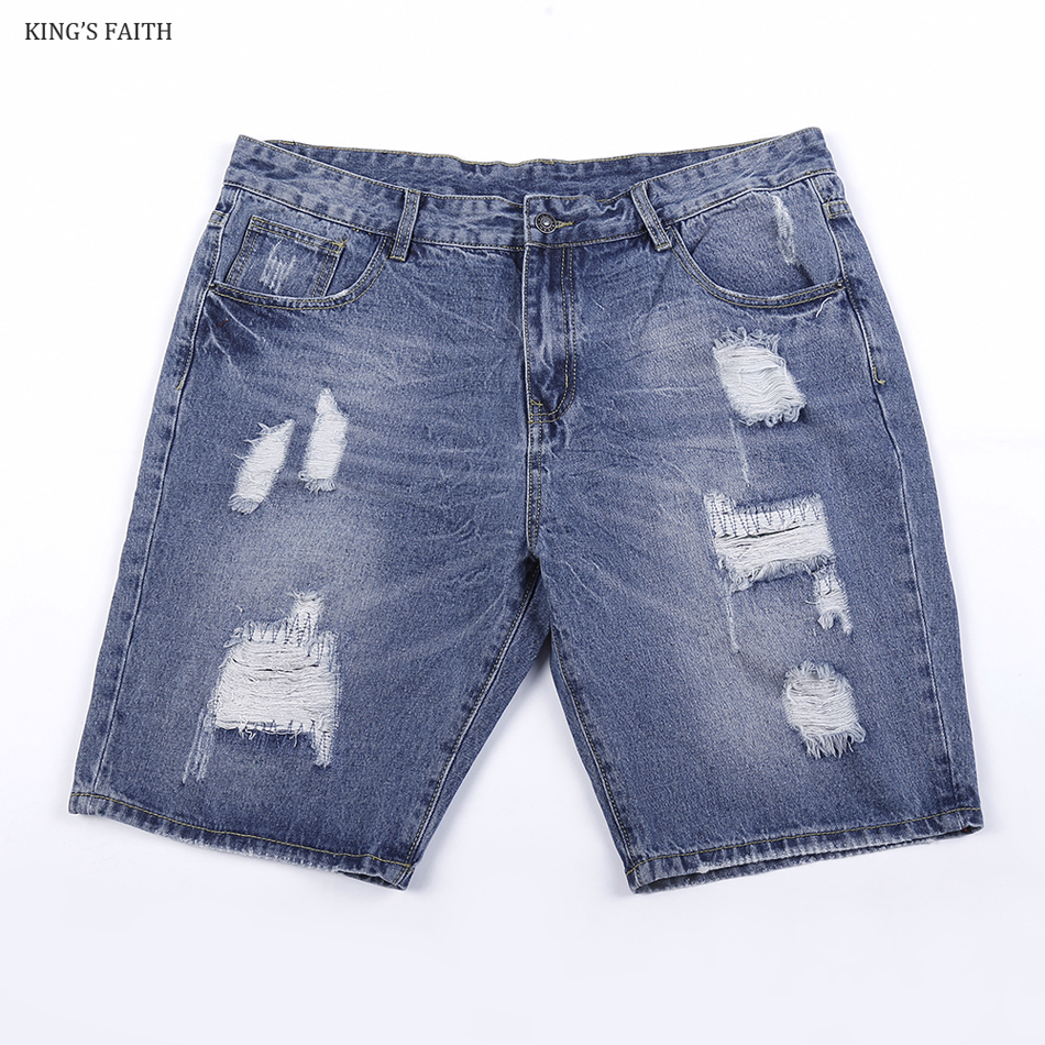 King's Faith Brand 2017 Summer New Fashion Mens Short Jeans Hole Ripped  Denim Knee Length Shorts Men Slim Fit Cotton HD072 цена 2016
