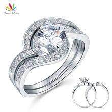 Павлин звезда Юбилей Обручение 2-Pcs стерлингового Solid 925 Серебряное кольцо комплект ювелирных изделий CFR8036