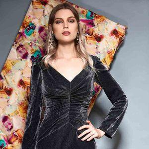 Image 5 - Vestido de noche Dressv de manga larga con escote en v, hasta el suelo plisado, corte sirena, vestido formal de fiesta y trompeta, vestidos de noche