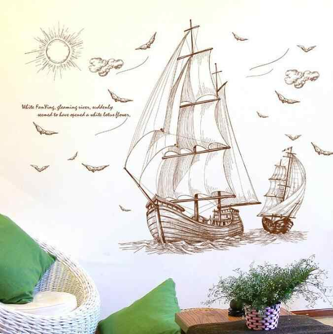 TECHOME Sailboat Wall Sticker Wall Art Home Decoration Accessories Bedroom Decor Wallpaper Home Wall Decor