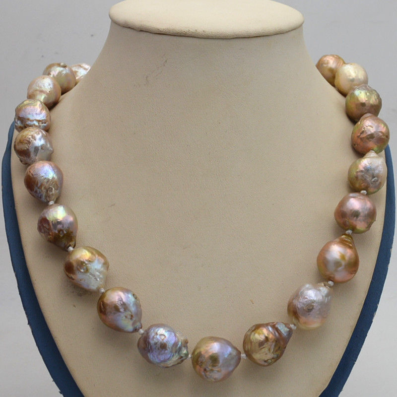 Natural 14x17mm Reborn Baroque Edison Pearl Knot Jewelry Necklace 18 AA>>>girls choker necklace pendant Free shippingNatural 14x17mm Reborn Baroque Edison Pearl Knot Jewelry Necklace 18 AA>>>girls choker necklace pendant Free shipping