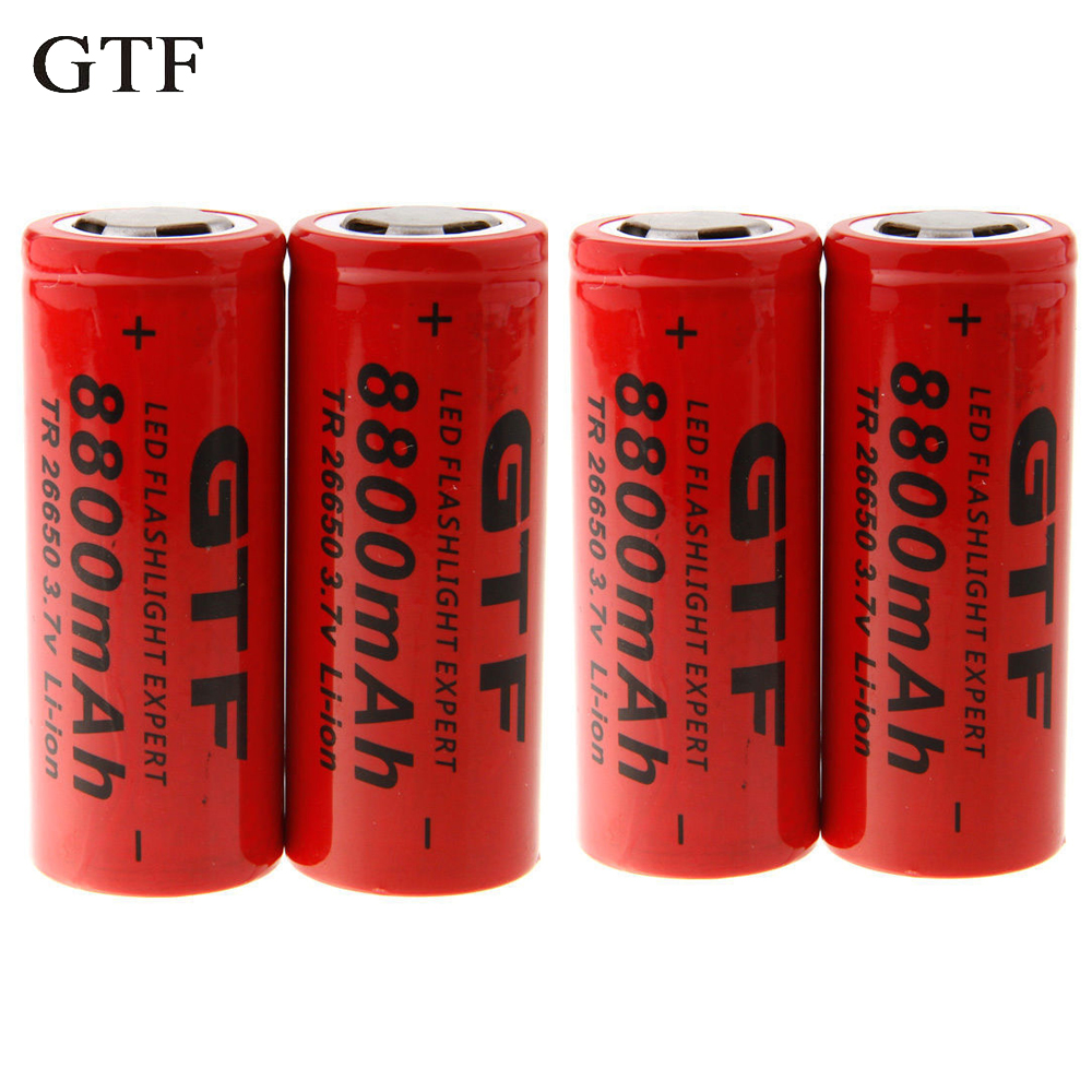 GTF 4 pcs 26650 Batterie 3.7 v 8800 mah Rechargeable Li-ion Batterie Utilisation pour lampe de Poche rechargeable Batterie