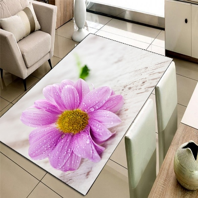Else Cream Floor Pink Yellow Daisy Flowers 3d Print Non Slip Microfiber Living Room Decorative Modern Washable Area Rug Mat