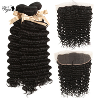 Queen Virgin Remy Hair 3/4 Bundles Indian Deep Wave With Frontal 13*4 Closure Free Part Ear To Ear Lace Closure With Bundles