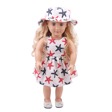 Fit 18 inch 43cm Clothes For Doll Born New Baby Flower Cloth clothes + hat suits accessories Gift