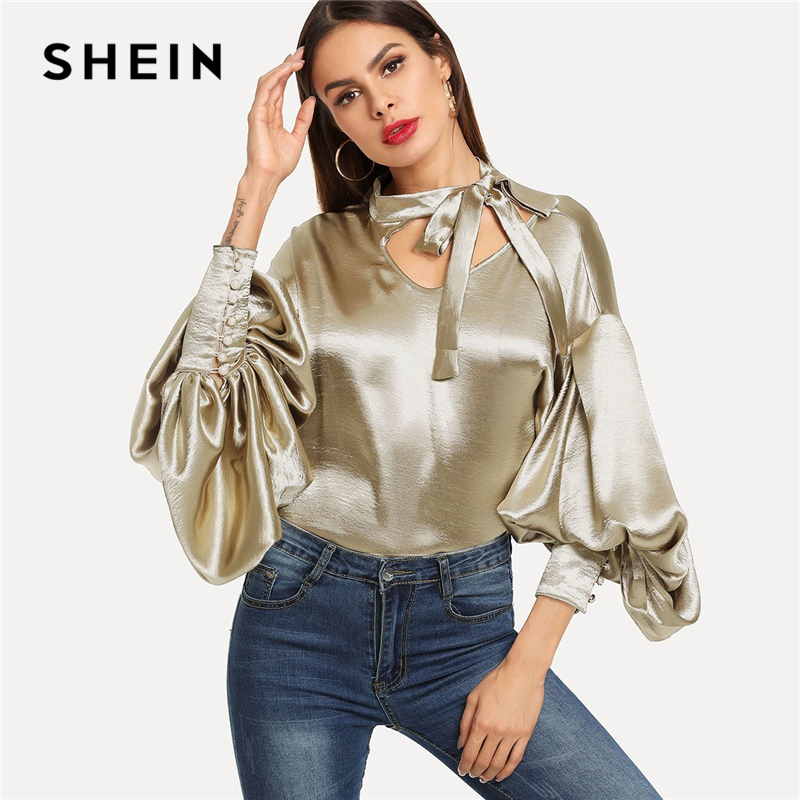 SHEIN Gold Office Lady Elegant Tie Neck Button Exaggerate Bishop Sleeve Solid Blouse 2018 Autumn Fashion Women Tops And Blouses