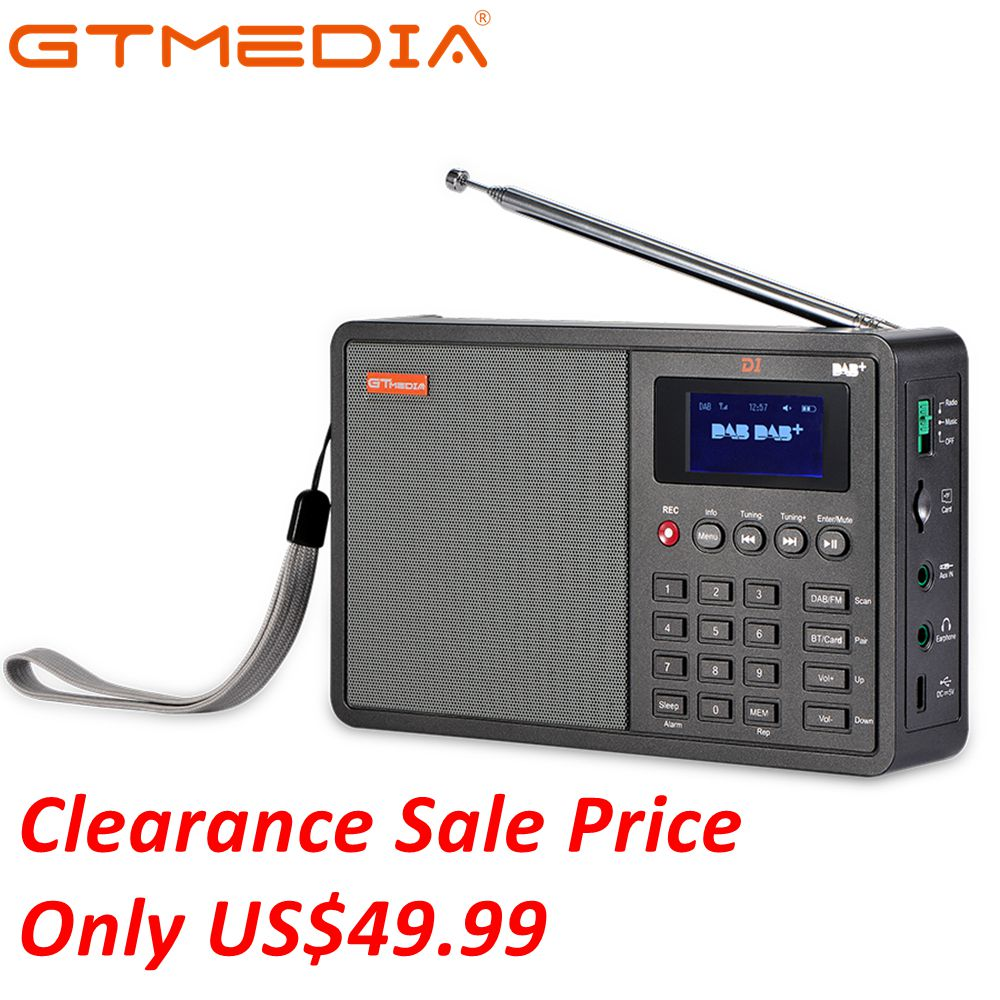 GTmedia D1 DAB+/TF/AUX Mini Digital Radio Handheld Digital FM USB TF Card Radio Clock/Alarm/Sleep Timer with time 18650 Battery