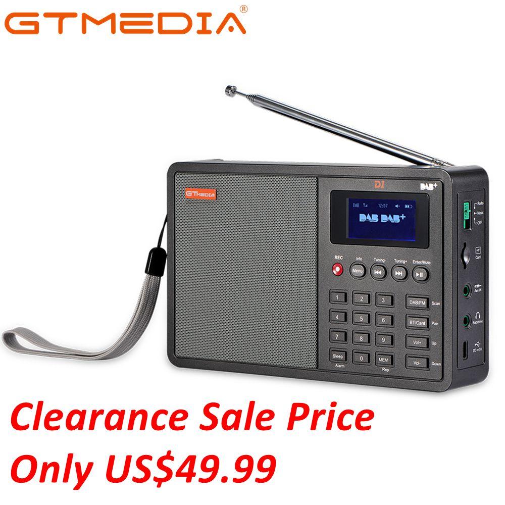 GTmedia D1 DAB +/TF/AUX Mini Numérique Radio De Poche Numérique FM USB TF Carte Radio Horloge/ alarme/Sommeil Minuterie avec le temps 18650 Batterie