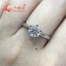 Classic 925 Sterling Silver Ring with 1ct 6.5mm Round-cut moissanite Wedding Jewelry Rings Engagement недорого