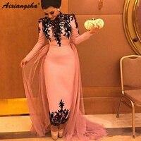 Pink Muslim Evening Dresses 2018 Sheath Long Sleeves Appliques Lace Formal Islamic Dubai Saudi Arabic Long Prom Evening Gown