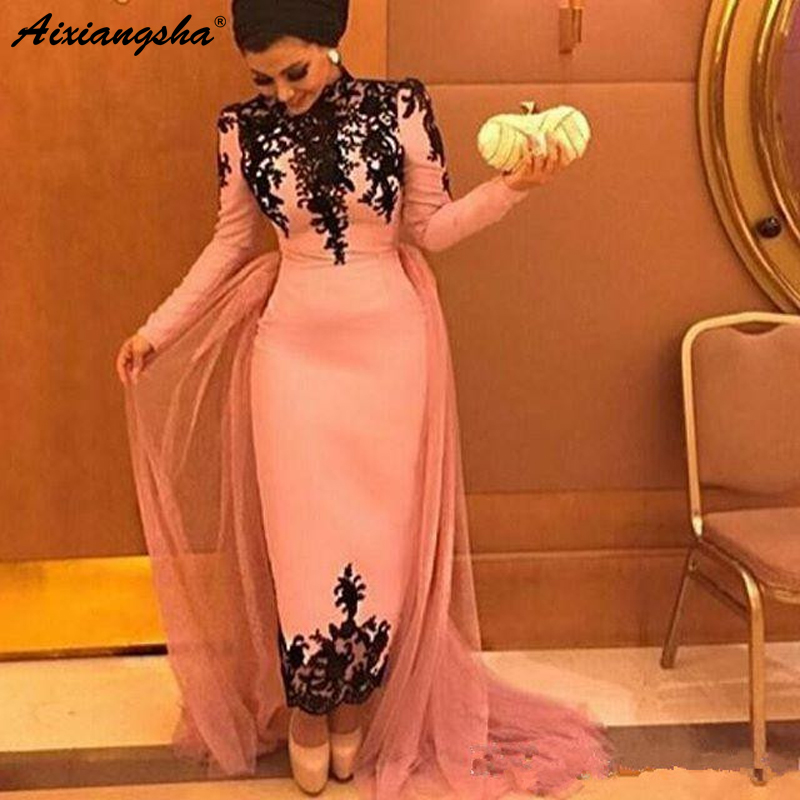Pink Muslim   Evening     Dresses   2018 Sheath Long Sleeves Appliques Lace Formal Islamic Dubai Saudi Arabic Long Prom   Evening   Gown
