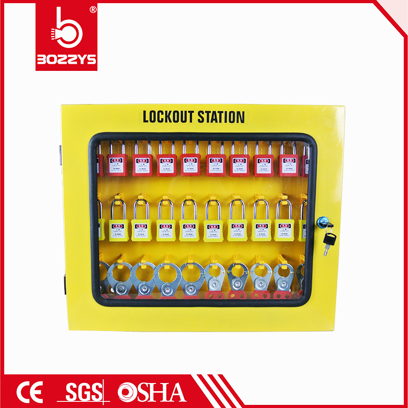 Big yellow lock box steel plate Safety Practical Lockout Management Station Durable Lockout Management station karmic management