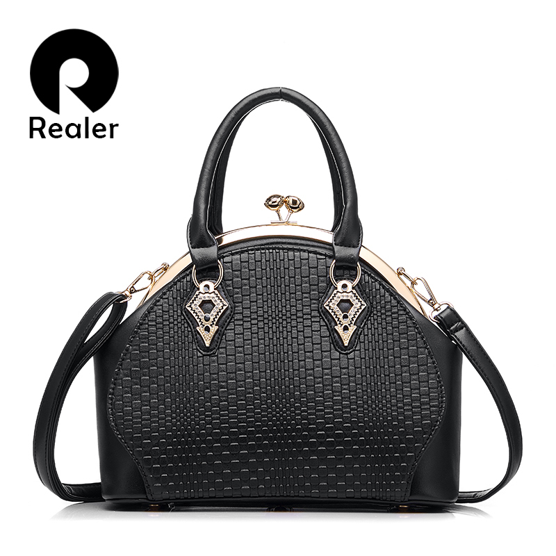 REALER brand design handbag women fashion black tote bag high quality PU leather shoulder handbag ladies office bags 5 colors high quality pu fashion women handbag designers brand woman shoulder bags leather embossed bag handbag hot handbag for women