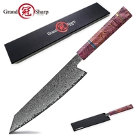 Damascus kitchen knife 67 layers Japanese Damascus Steel Chef Knife Purple Line Solidified Wood Handle Best Family Gift Cooking
