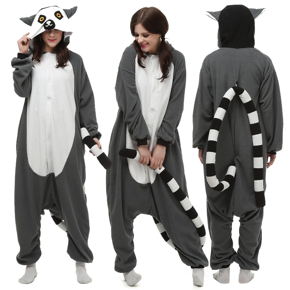 Animal Lemur Kigurumi Onesie Unsiex Adult Pijama kigurumi Pajamas Warm Soft Sleepwear Homewear Halloween Party Cosply Costume