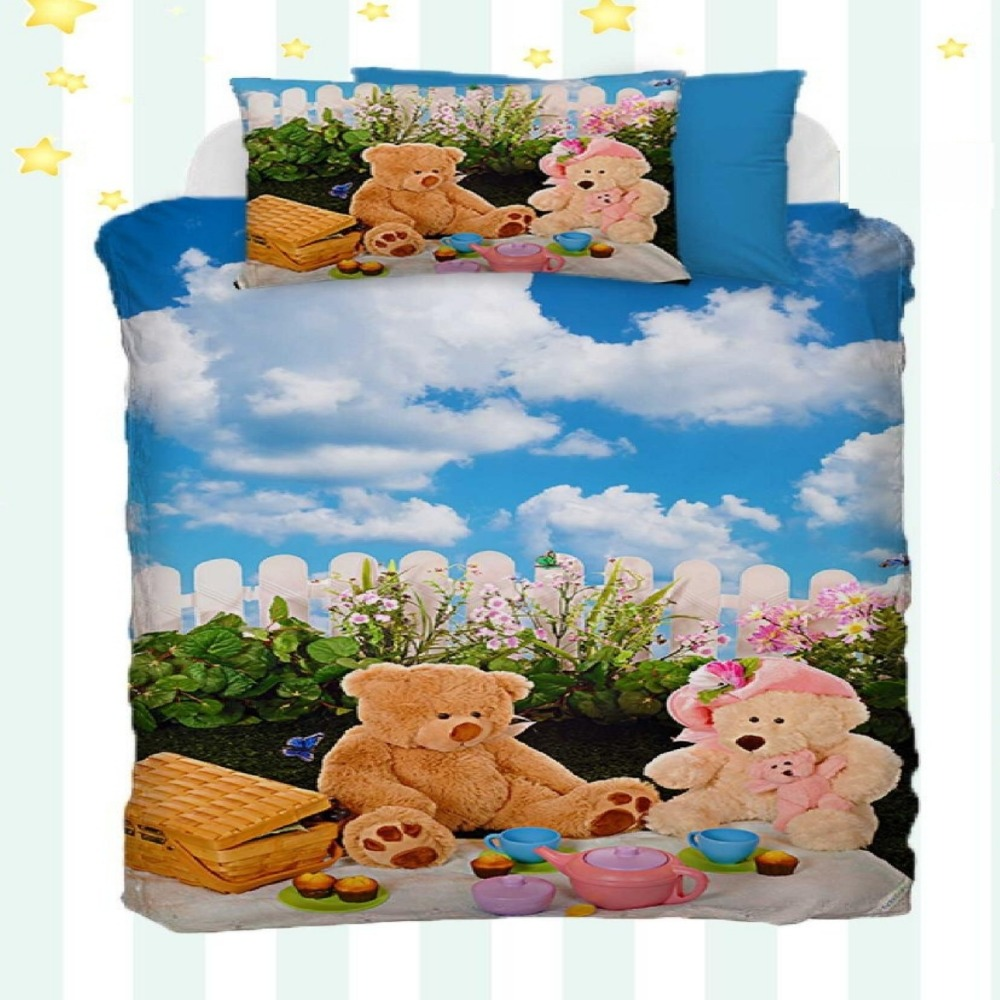 Else 4 Piece Funny Bears Picnic Floral Blue Sky Clouds 3D Print Cotton Satin Baby Duvet Cover Bedding Set Pillow Case Bed SheetElse 4 Piece Funny Bears Picnic Floral Blue Sky Clouds 3D Print Cotton Satin Baby Duvet Cover Bedding Set Pillow Case Bed Sheet