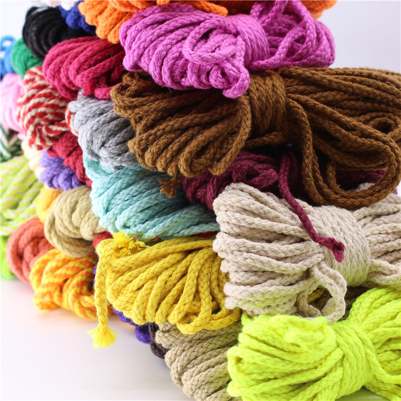 Wholesale 10 Meters 5mm Diy Accessories Twisted Round Cotton Cord Decoration Color Cotton Rope String font