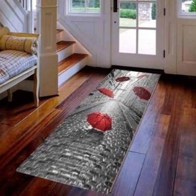 Else Vintage Gray Street Red Umbrella 3d Print Non Slip Microfiber Washable Long Runner Mats Floor Mat Rugs Hallway Carpets