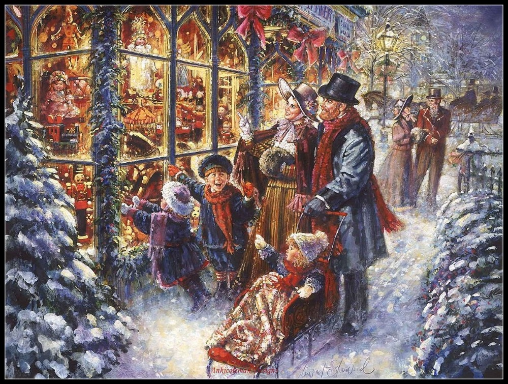 Victorian Christmas Village - Counted Cross Stitch Kits - Handmade Needlework For Embroidery 14 Ct Cross Stitch Sets DMC Color
