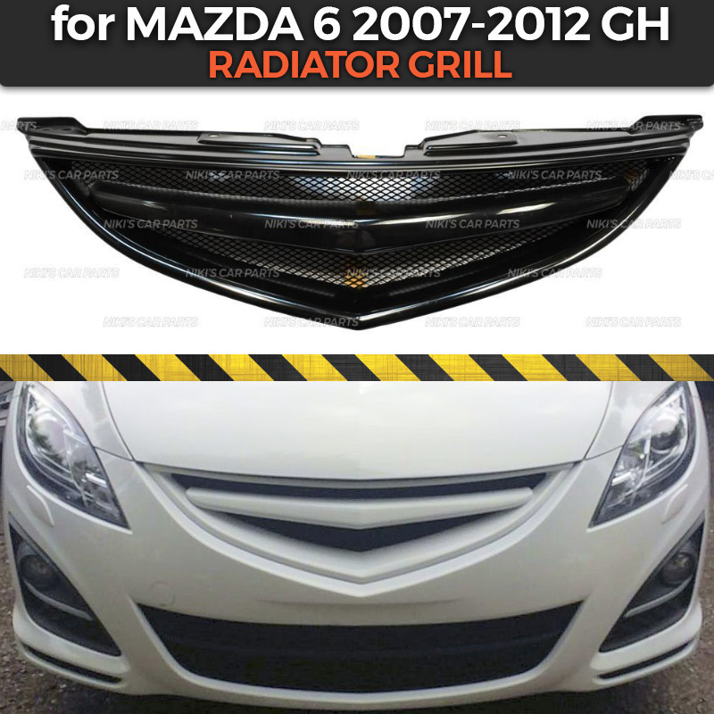 Radiator Grill Case For Mazda 6 GH 2007-2012 With Crossbar ABS Plastic Body Kit Aerodynamic Decoration Car Styling Tuning