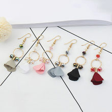 New Fashion Brand Jewelry Elegant Style Simple Cloth Flowers Drop Earrings Beads Long Earring For Women Gift(China)