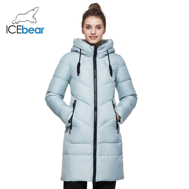 ICEbear 2017 Новинка зимняя модная тёплая куртка средней длины мягкая плотная ткань зимний пуховик с карманами 17G6516D
