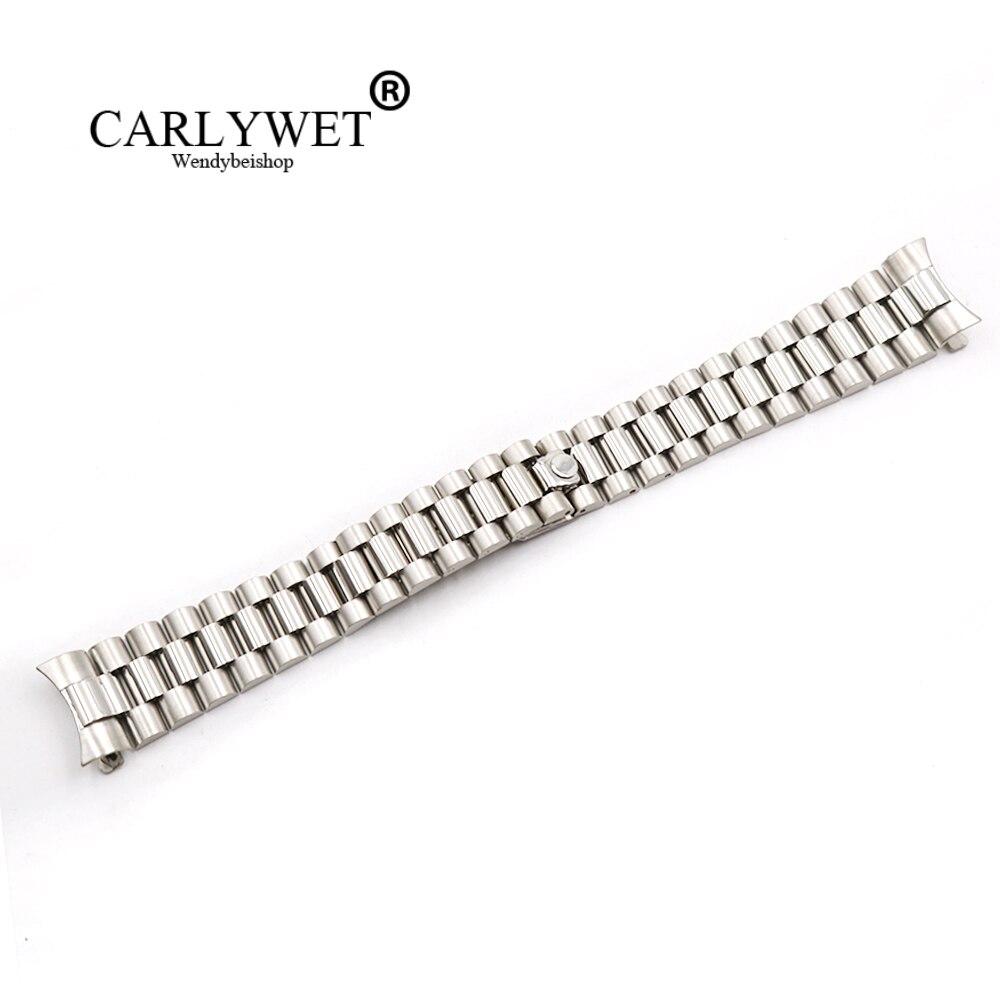 CARLYWET 20mm Gros Argent Creux Curved End Vis Liens Acier Inoxydable 316L Rem Bande Courroie De Vieux Style Jubilé Bracelet