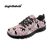 Doginthehole Boston Terrier Printing Female Sneakers Woman Sports Shoes Walking Comfortable Ultra Light Black Zapatillas