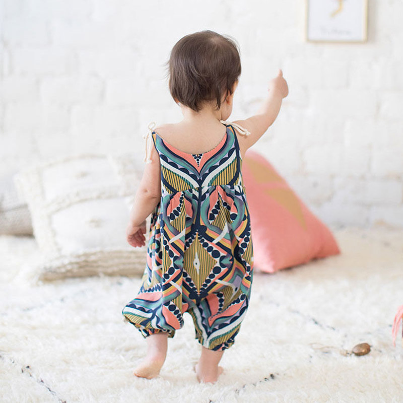 Self Tie Strap Peacock Feather Baby Romper Summer Sleeveless Bohemia Jumpsuit For Girls